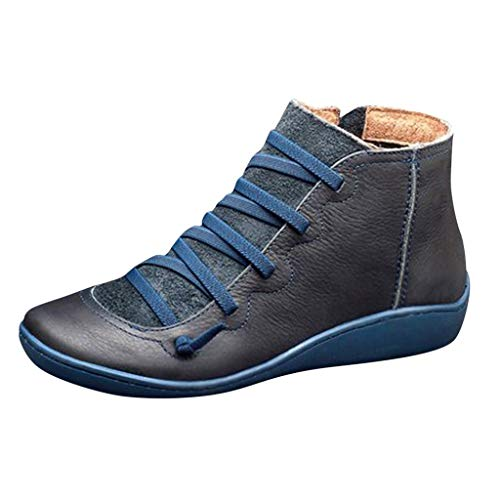 Aniywn Arch Support Boots,Women Low Heels Casual Short Ankle Boots Everyday Waterproof Boots(Blue,40)