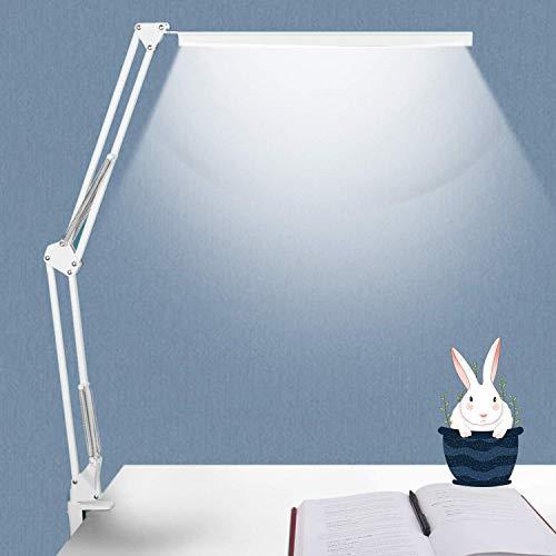 NovoLido LED Lampada da Tavolo con Morsetto, 3 Modalità di Colore Lampada da Scrivania Pieghevole, 9 W Luminosità Dimmerabile per Lettura Architetto Studio Lavoro Ufficio, Funzione di Memoria Bianca