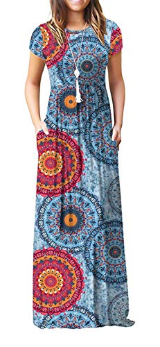VIISHOW Women's Short Sleeve Floral Print Scoop Neck Loose Plain Maxi Dresses Casual Long Dresses with Pockets(Floral Mix Blue L)