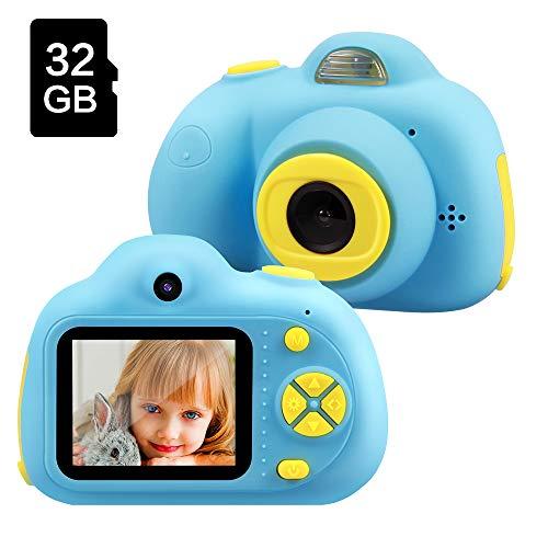 TekHome Kinderkamera Blaue Junge ab 3 Jahre, Kinder Kamera mit 16MP 1080P Farbdisplay & 32GB SD Karte, Fotoapparat Digitalkamera, Baby Mädchen Geschenk 3 4 5 6 7 8 9 Jahre, Outdoor Spielzeug.