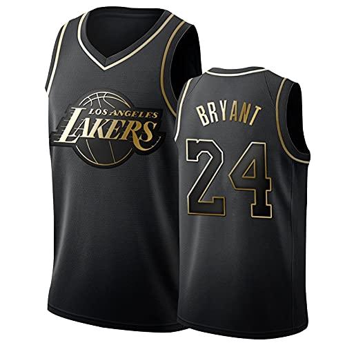 IUYJ Los Angeles Lakers # 24 Kobe Bryant Camiseta De Baloncesto Black Mamba,Hombres Bordado De Bordados Malla Transpirable Seco Rápido Basketball Jersey Black Gold-L