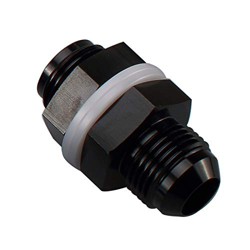 10AN AN10 Straight Black Aluminum Fuel Cell Bulkhead Adapter Fitting -10 AN Locking Nut With Oil-resistant Washer