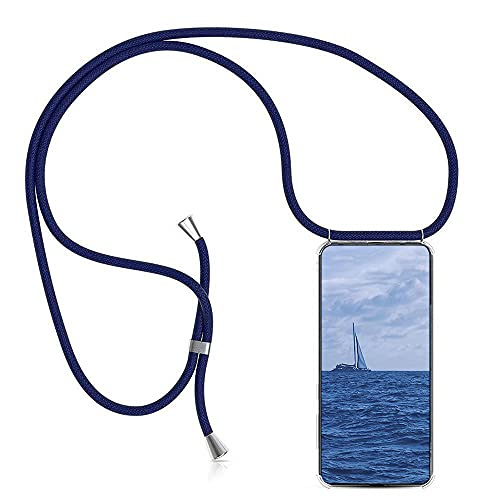 Funda para Sony Xperia XZ2 Compact con Cuerda, Sony Xperia XZ2 Compact Carcasa Transparente TPU Suave Silicona Case con Correa Colgante Ajustable Collar Correa de Cuello Cadena Cordón, Azul Oscuro