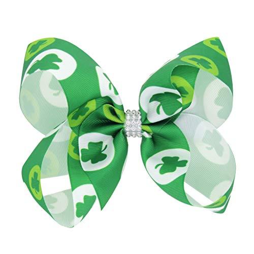 Kobay St. Patrick's Day Grün Irisches Neugeborenes Mädchen Turban Kopfbedeckungen Accessoires St. Patrick's Day Schleife Haarspange für Kinder