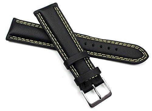 20mm in vero cuoio giallo doppia cucitura nero orologio da polso Band...