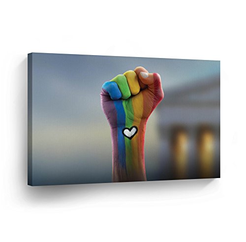 Gay Rights Canvas Print Be Strong Gay Love LGBT Flag Rainbow Colors Lesbian Gay Wall Art Love Decorative Decor Artwork Wrapped Stretcher Bars Ready to Hang%100 Handmade in The USA - 8x12