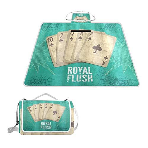XINGAKA Couverture de Pique-Nique,Affiche de Casino rétro Vintage Impression Royal Flush avec des Cartes de Jeu Image de Passe Temps Joker Chanceux,Tapis Idéale pour Plage Jardin Parc Camping