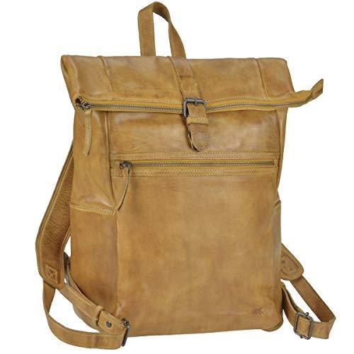Bear Design Rucksack Leder Damen Herren Rolltop Daypack Kurierrucksack Tagesrucksack Trekkingrucksack Fahrradrucksack mit Notebookfach Ocker