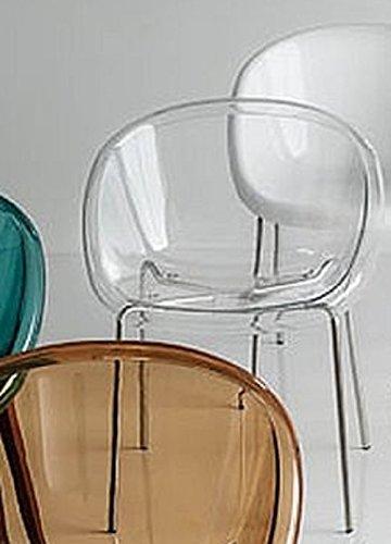 OUTLET CALLIGARIS 2 SEDIE Bloom CS/1390 Struttura Metallo Cromato SCOCCA POLICARBONATO Trasparente Bianco Ottico Cucina Sala Bar CAFFETTERIA (Trasparente)