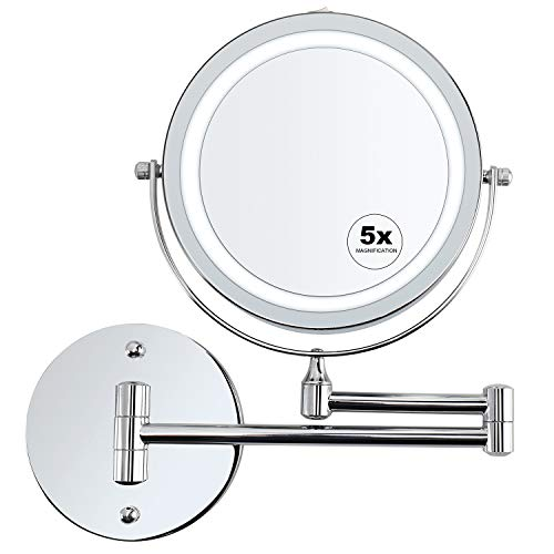 alvorog Wall Mounted Makeup Mirror LED Lighted 5X Magnifying Cosmetic Mirror 360° Swivel Extendable Two Sided Vanity Mirror for Bathroom, Powered by 4 x AAA Batteries (Not Included)