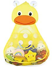RETTI Organizador de juguetes para el baño, para guardar juguetes de niños pequeños, bolsa de almacenamiento para juguetes para niños, bebés, baño, secado rápido, con 2 fuertes, pato