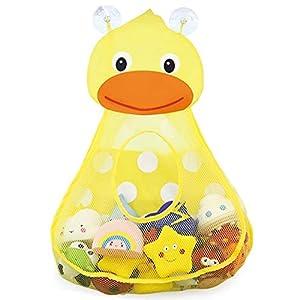 RETTI Organizador de juguetes para el baño, para guardar juguetes para niños pequeños, bolsa de almacenamiento para juguetes de baño, secado rápido, con 2 ventosas fuertes, pato