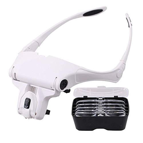 EUROXANTY- Lupa Gafas con 2 luz LED Lupas Gran Aumento Perfecto para Leer, Extensiones de Pestañas, Reparación de Joyería, Gafas Lupa Visera, 5 Lentes Intercambiable 1X,1.5X,2X,2.5X,3X,3.5X