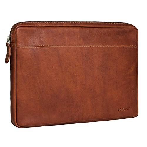 ROYALZ Vintage Schutztasche für Trekstor Primebook P13 Tasche Leder (13,3) Lederhülle Cover Ledertasche Hülle Schutzhülle Sleeve Etui Mappe Retro, Farbe:Cognac Braun