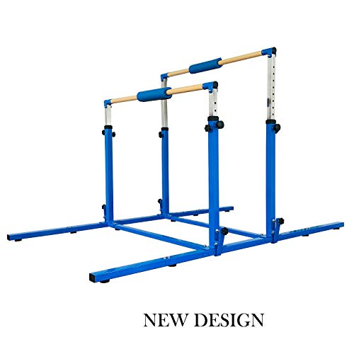 MARFULA 3Play Double Horizontal Bars - Uneven Bars - Parallel Bars No Limit Adjustable Height and Width with 304 Stainless Steel Regulating Arms & Fiberglass Rail