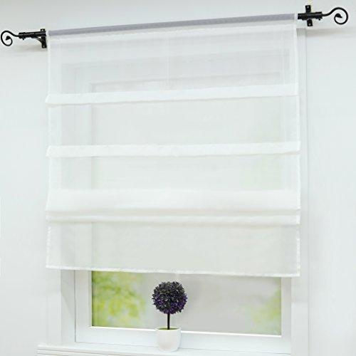 Joyswahl - Estor de gasa Oonagh para ventanas con dobladillo para barra
