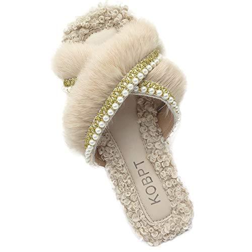 KOBPT Women's Slippers Fluffy Plush Cozy Open Toe Cross Band Indoor Outdoor Shoe Beige