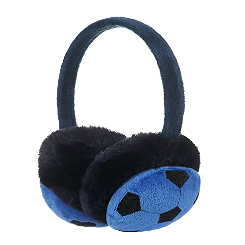 boys Football Ear muffs kids winter warm earmuffs for boys plush earmuffs Ear Warmer for 3-12 year old children (blue)