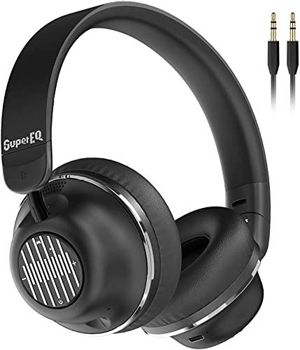 OneOdio SuperEQ Bluetooth ヘッドホン ワイヤレスヘッドホン S2 子供のANCノイズキャンセリング オンイヤーヘッドホン CVC 8.0 AAC対応 ヘッドセット 有線 ワイヤレスヘッドフォン 25時間再生 内向きのマイク HiFi 重低音 テレビ 用