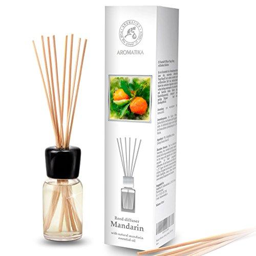 Aroma Diffuser de Mandarín 100ml con 8 Palitos de Bambú - Aceite Esencial Puro Mandarín - 0% Alcohol - Diffusore Aromi para Ambientador de Ambiente - Hogares - Aromaterapia - Difusor de Perfum