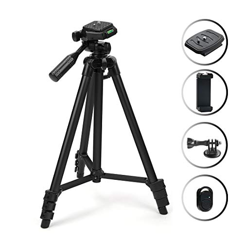 102cm Universal Flexible Aluminum Mini Portable Camera Tripod Stand Lightweight with with Carrying Bag and Cellphone Bracket