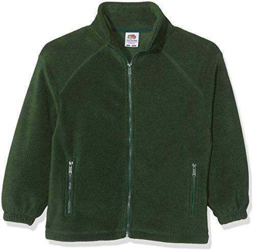 Fruit of the Loom Kinder-Unisex-Jacke mit durchgehendem Reißverschluss, legere Outdoor-Fleecejacke Gr. Medium, Multicoloured - Vert bouteille