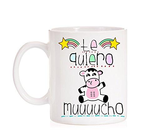 MardeTé Taza Te Quiero muuucho. Divertida Taza de Amor. Taza Dia Enamorados. San Valentín. Tazza Vaca Te Quiero Mucho
