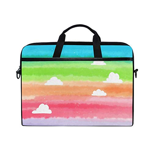 Laptop Sleeve Case,Laptop Bag,Colorful Rainbow Clouds Water Briefcase Messenger Notebook Computer Bag with Shoulder Strap Handle,28.5×38 CM/14 Inch