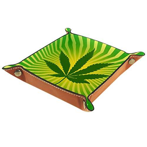 YATELI Caja de Almacenamiento pequeña, Bandeja de Valet para Hombre,Hoja de Marihuana Verde,Organizador de Cuero para Llaves de Caja de Monedas