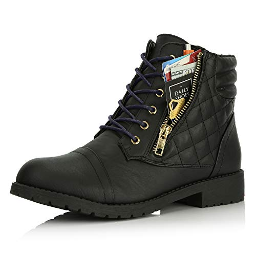 DailyShoes Tomb Raider Costume Boots Women's Ankle Combat Boots Low Mid Up Pull On Stretch Sock High Exclusive Credit Card Pocket Shoe Black,Pu,10, Shoelace Style Navy