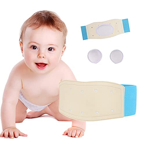 Paskyee Umbilical Hernia Belt Baby Belly Button Band Infant Belly Wrap Abdominal Binder Hernia Truss Support Adjustable Navel Belly Band Newborn Umbilical Cord Blue