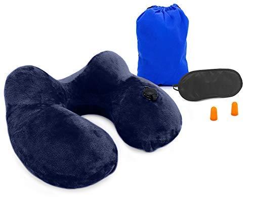 MyGadget Almohada de Viaje Inflable - Almohada U Hinchable de Cuello para Viajes + Antifaz para Dormir, Ideal para Usar en Avion Coche Tren - Azul Oscuro