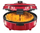 Chefman Anti-Overflow Belgian Waffle Maker w/Shade Selector & Mess Free Moat, Round Waffle-Iron w/Nonstick Plates & Cool Touch Handle, Measuring Cup Included, Red (Renewed)