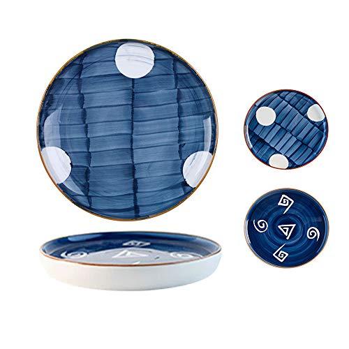 8 Inches Porcelain Dinner Plates, Serving Plate Set, Ceramics Assorted Blue White Serving Plates Floral Dinner Shallow Plates,Japanese-style Patterns, for Appetizer Salad Dessert Snack Set of 2