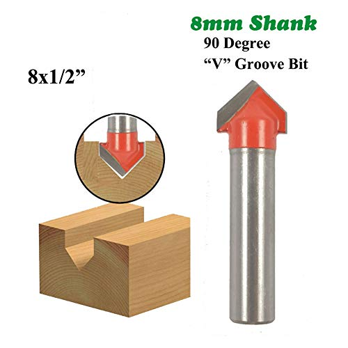 1Pc 8Mm Schacht 90 Graden V Groef Bit 1/2 Inch CNC Graveren Solid Frees Carbide Frees Hout Boren MC02019