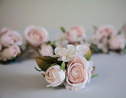 Lot de 6 roses de mariage en soie pour boutonnière - 3 Couleurs
