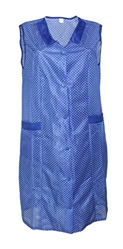 Kittel Schürze Kittelschürze Dederon Nylon blau o. rot, Größe:56, Farbe:blau mit weißen Punkten