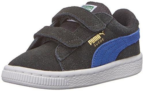 PUMA Suede 2 straps Sneaker (Infant/Toddler/Little Kid) , Black/Limoges/Team Gold, 13 M US Little Kid