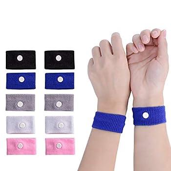 LYJEE 5 Pairs Motion Sickness Bands Nausea Wristbands for Car Sickness Relief Wristbans for Mornig Sea Flying Travel
