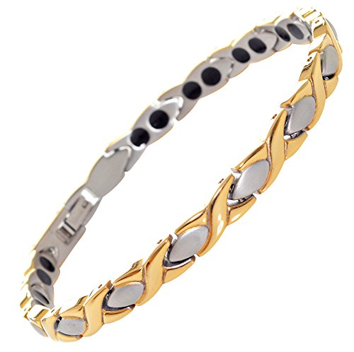Titanium Magnetic Bracelet Double Strength - Natural Pain Relief Therapy by MnB Magnetic Bracelets (Silver & Gold)