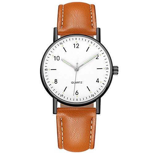 B/H Elegante Reloj de Pulsera con Banda de Malla de Acero Inoxidable,Reloj de Correa de Cuero, Reloj Luminoso-Negro y Blanco + marrón,CláSico Cuarzo Reloj Impermeable Minimalista
