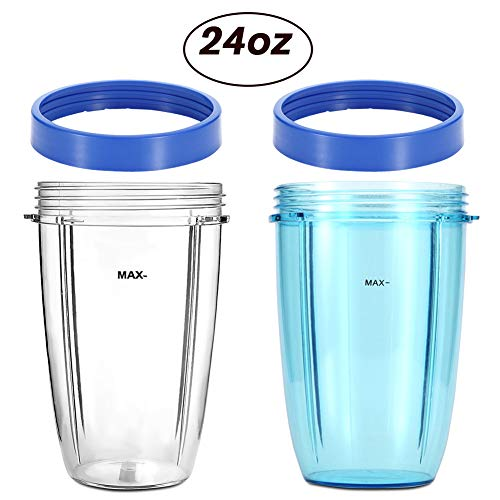 KORSMALL Compatible Replacement Parts for NutriBullet 2Pack 24oz Tall Blender Cups(Blue and Clear) with 2 Blue Lip Rings
