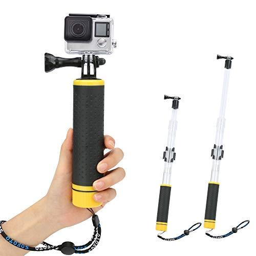 Schwimmer Handgriff, Welltop 2 in 1 Schwimmende Teleskopstange und schwimmender Handgriff Schwimmender Hand Grip Selfie Stick für GoPro Hero 7/6/5/4/3 mit Halterung für WiFi-Fernbedienung