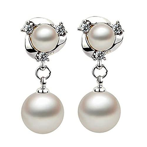 FENGGUO Pendientes de boda de gota de perlas para novias, pendientes de perlas nupciales para regalo de joyería de dama de honor