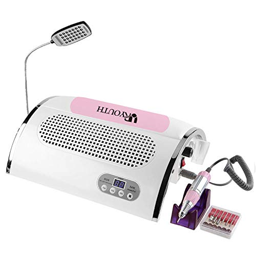 URYOUTH 4 IN 1 Nail File Drill & Nail Dust Collector & 54W UV Gel Nail Dryer Lamp Timer 30s 60s 90s & LED Desk Lamp, Salon Expert Nail Machine Multifunctional Nail Art Equipment Manicure Tool Kits