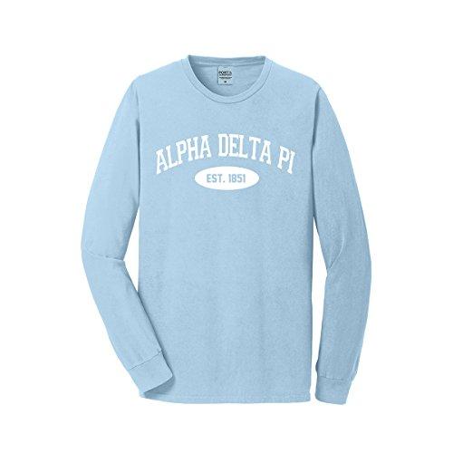 Alpha Delta Pi Long Sleeve Vintage Tee (Unisex M, Glacier Blue)