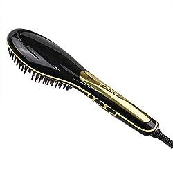 BeautyWill Multifunktionale Haarglättungsbürste, sofortiges glattes Haar, Haarpflege Keramikglätteisen mit Verbrühschutz Anti-statisch Haarmassage schwarz