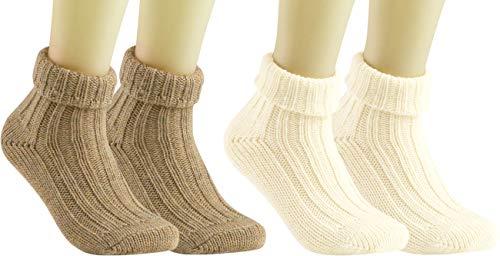 RS. Harmony   Socken und Strümpfe für Damen   Alpaka mit Umschlag   2 Paar   natur, wollweiß   39-42
