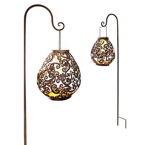 Pureday Solarleuchte mit Stab zum Aufhängen Verzierungen Ornamente 3 Warm Weiße LEDs Metall braun