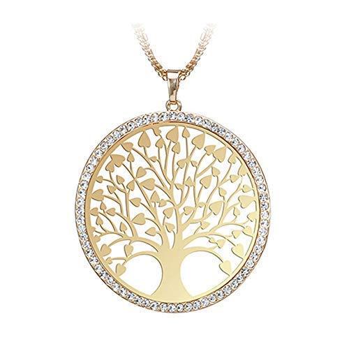 Mini Office Depot Baum des Lebens Rund Klein Anhänger Halskette Gold Silber Farben Schmuck(Gold)